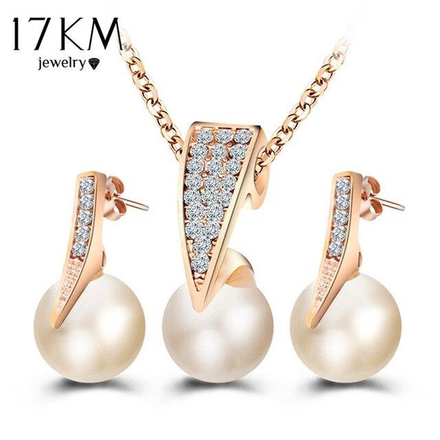 17 KM אופנה חיקוי פרל תכשיטי סטי ריינסטון זהב צבע שרשרת סטים לנשים כלה חתונה מים Drop עגילים