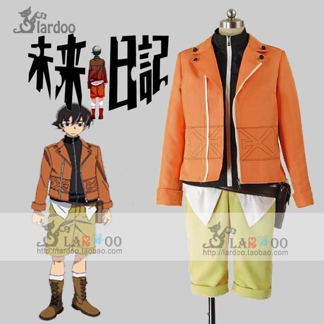 Anime The Future Diary Amano Yukiteru Cosplay Costume Cartoon Halloween  Costumes Full Set with Shoe Covers