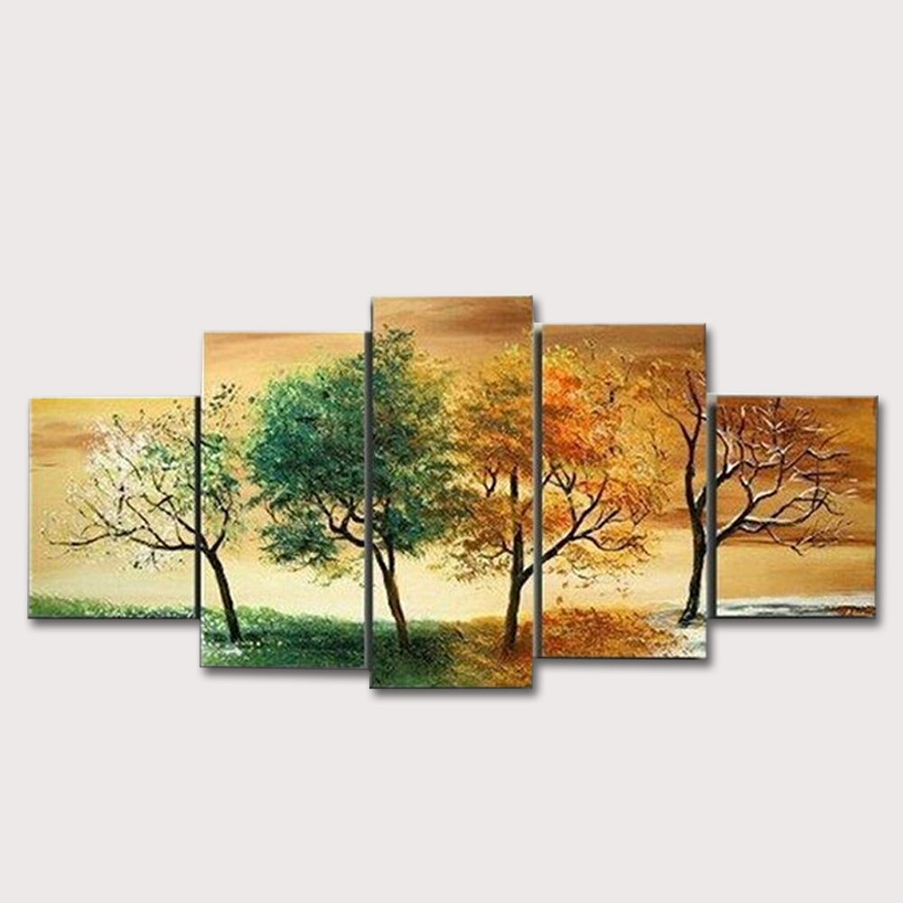 High Quality Hand Painted 4 Season Tree Oil Painting White Green Red Landscape 5 Pcs Canvas