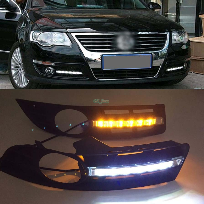 Turn Signal and turn off style Relay 12V car LED DRL Daytime Running Lights for VW Magotan Volkswagen 2006 2007 2008 2009 2010 1set car accessories daytime running lights with yellow turn signals auto led drl for volkswagen vw scirocco 2010 2012 2013 2014