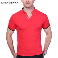 Dos homens Venda quente V Neck T Shirt 2017 Summer Fashion Sólidos Curto manga da Camisa T Men LAISO Imprimir Collar Slim Fit Mens Top Tees camisa