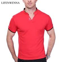 Hot Sale Men's V Neck T Shirt 2017 Summer Fashion Solid Short Sleeve T Shirt Men LAISO Print Collar Slim Fit Mens Top Tees Shirt