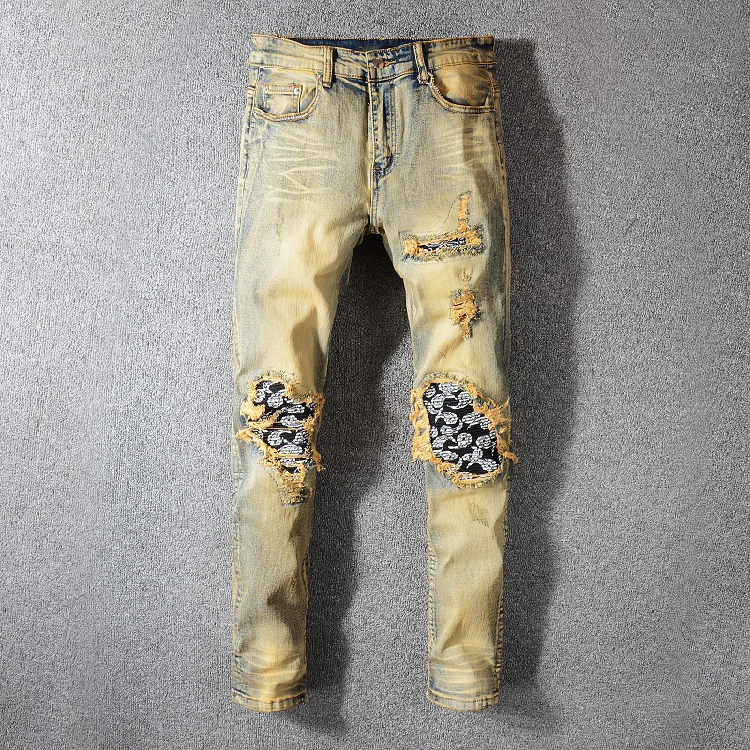 2020 New Men's Distressed Dirty Washed Denim Blue Jeans Art Ribs Patches Skinny Pants Slim Trousers Size 28-40