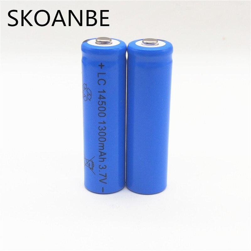 10X14500 battery 3.7V 1300mAh rechargeable li-ion 14500 liion for Led flashlight
