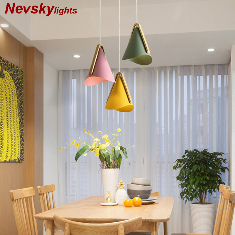 Designer Wooden Pendant Lights With Metal Lampshade For Dining Room light Nordic Style LED Pendant Lamp Multicolor Hanging LampsDesigner Wooden Pendant Lights With Metal Lampshade For Dining Room light Nordic Style LED Pendant Lamp Multicolor Hanging Lamps