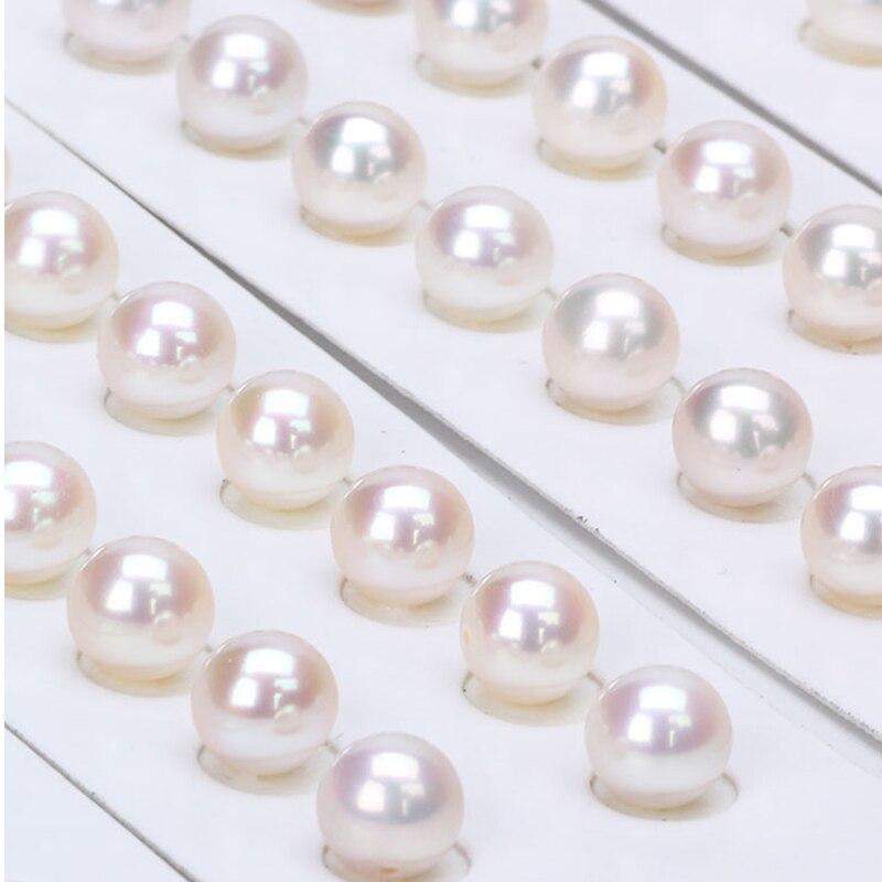 Venta al por mayor 10 Uds (5 pares) 8 8,5 MM medio perforado redondo perla de agua dulce natural - 4