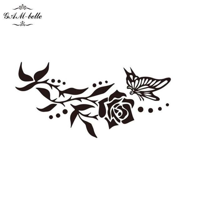 Rose butterfly tattoo stick waterproof female lasting simulation black rose tattoo sticker