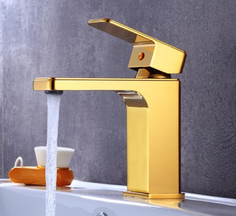 new luxury brass material gold finished bathroom single lever hot and cold sink faucet,basin tap mixer
