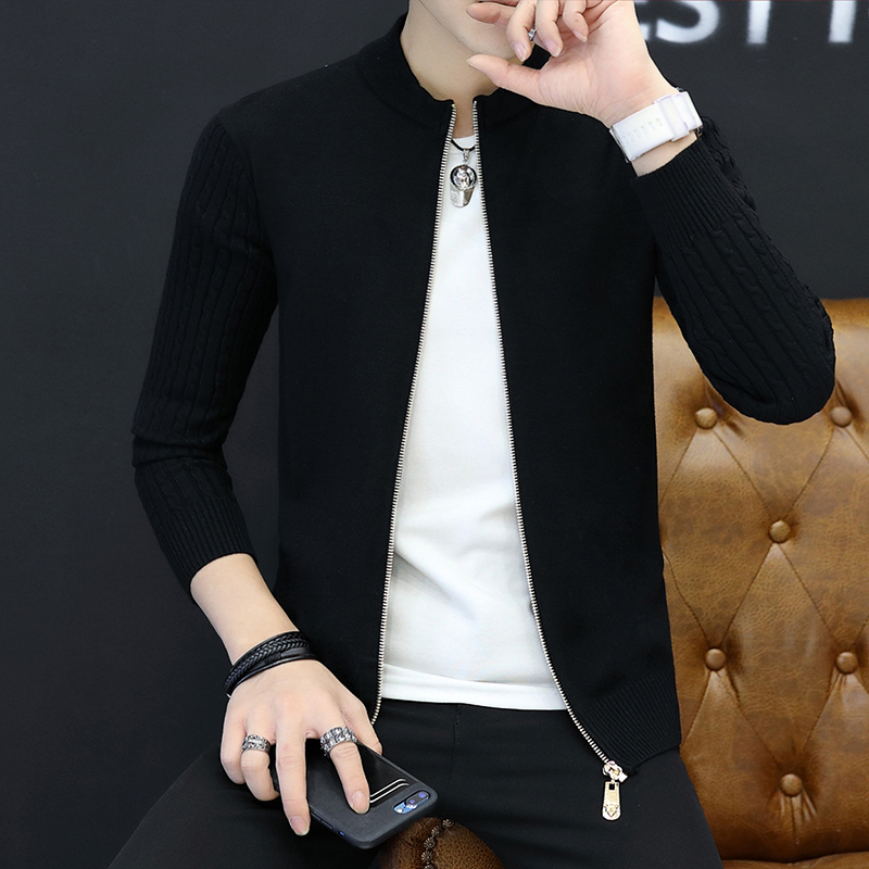 2018 Autumn Fashion Men's Slim Fit  Knitting Sweater /leisure Male Pure Color Comfortable Sweater Coat