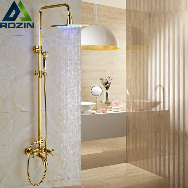 Golden Square 12 inch led Light Shower Faucet Set Wall Mounted Rainfall Dual Handles Color Changing Shower Mixer Kit free shipping wall mounted brushed nickle led light showerhead with shower arm 8 10 12 inch