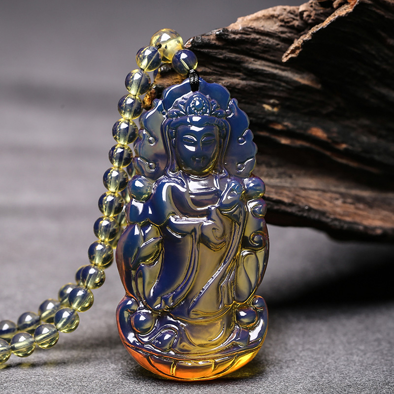 Natural Domi Blue Potter Pendant Sweater Chain Raw Mineral Honey Wax Amber Men s Guanyin Necklace