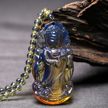 Natural Domi Blue Potter Pendant Sweater Chain Raw Mineral Honey Wax Amber Men's Guanyin Necklace Pendant