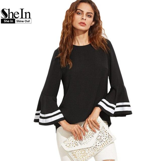 Shein preto mulheres elegante listrado longo flare mulheres tops e blusas de manga comprida keyhole voltar blusa superior das senhoras para o outono
