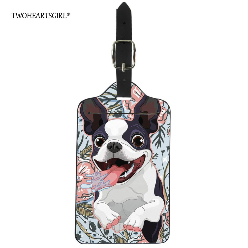 Twoheartsgirl PU Leather Travel Luggage Tag Cover Boston Terrier Suitcase ID Address Holder Dog Baggage Boarding Tags Label
