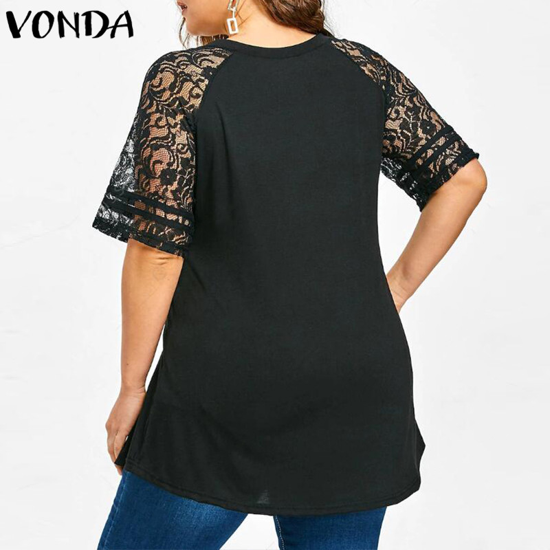 Women Lace Shirt 2018 Summer Sexy V Neck Short Sleeve Casual Loose Blouses Patchwork Bandage Black Tee Tops Plus Size Hollow Out 4