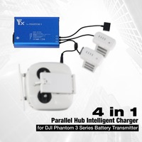 4 in 1 Parallel Power Hub Intelligent Battery Transmitter Charger for DJI Phantom 3 Standard Professional Advanced SE RC Drone