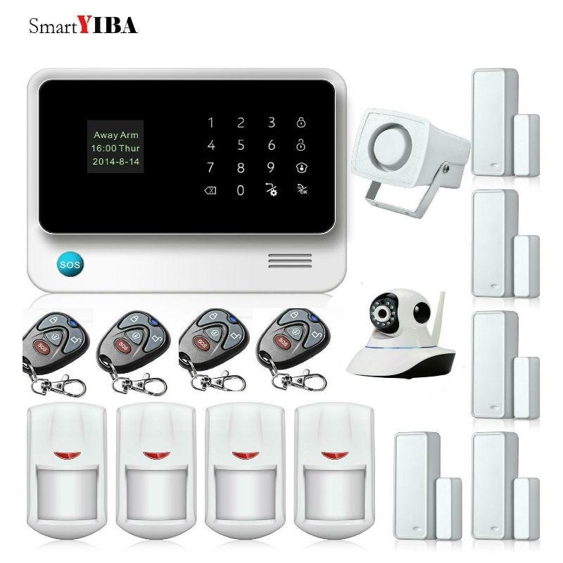 SmartYIBA APP Remote Control WIFI GSM Security System for Home Door Sensor Alarm IP Camera Detector Alarm Kits House Alarm