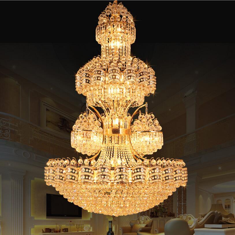 Large Luxury Led Chandelier K9 Gold Crystal Chandelier