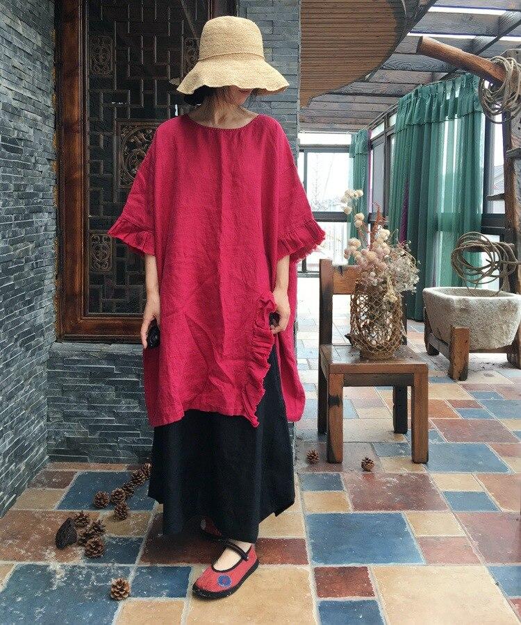 Réduction Robe L'âge Lin 2018 Lâche La Feuille Mini Laver De N215 Lotus Pur Côté Femmes Rouge À Le BrxdoeC