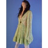 Для женщин Летняя новинка; платье 2019 сексуальное платье с v образным воротом, платье в богемном стиле с цветочным рисунком Шелковый пляжная