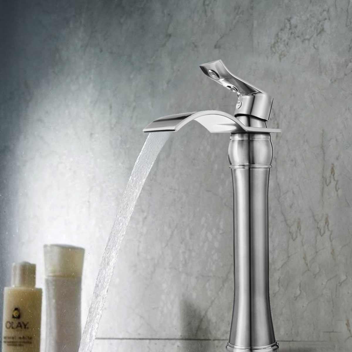 все цены на Modern Chrome Full Copper Brass Base High Basin Faucet Bathroom Waterfall Faucet Hot and Cold Mixer Tap Single Handle Sink Tap онлайн
