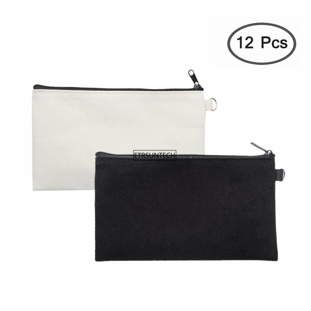 12PCS Plain Nature Cotton Canvas Travel Toiletry Bags Cotton Makeup Zipper Bag Cotton Canvas Pouch Cotton Cosmetic Pencil Bag