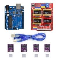 4pcs DRV8825 Stepper Motor Driver With Heatsink CNC Shield Expansion Board UNO R3 Board USB Cable