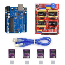 4pcs DRV8825 Stepper Motor Driver With Heatsink + CNC Shield Expansion Board + UNO R3 Board USB Cable Kits for Arduino 3D Printe cnc shield expansion board v3 0 4pcs drv8825 stepper motor driver with heatsink with uno r3 board