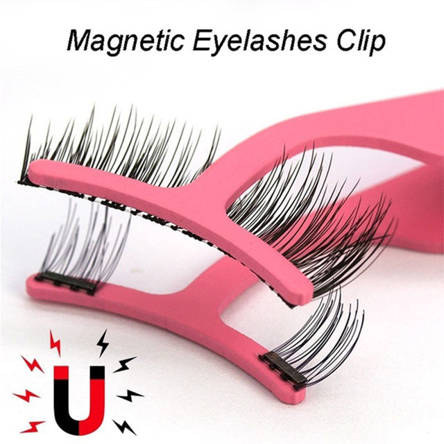 False Eyelash Extension Applicator Stainless Steel Magnetic Eyelashes Curler Tweezer Clip Clamp Makeup Beauty Tools