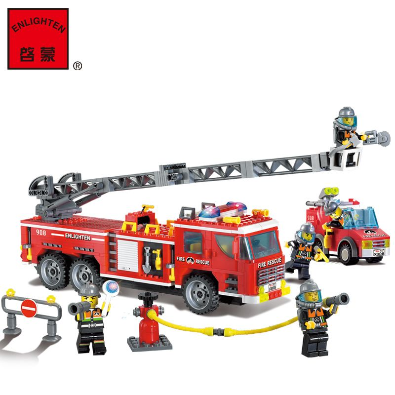 Enlighten 908 City Police Fire Rescue Truck Fireman Model Building Blocks Educational Kids Gift Toy Lepin Compatible 380pcs fire branch city enlighten bricks toy for children ladder truck building blocks fire fighter figures boys gift k0411 910
