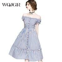 WQJGR Slash Neck Dress Women Sexy Tube Top One Word Lead Shoulder Lotus Leaf Edge Blue Vertical Stripe Dress