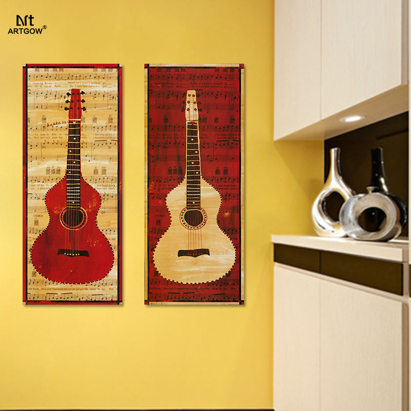 Retro Red Yellow Guitar 2pcs/set Musical Instruments picture ...