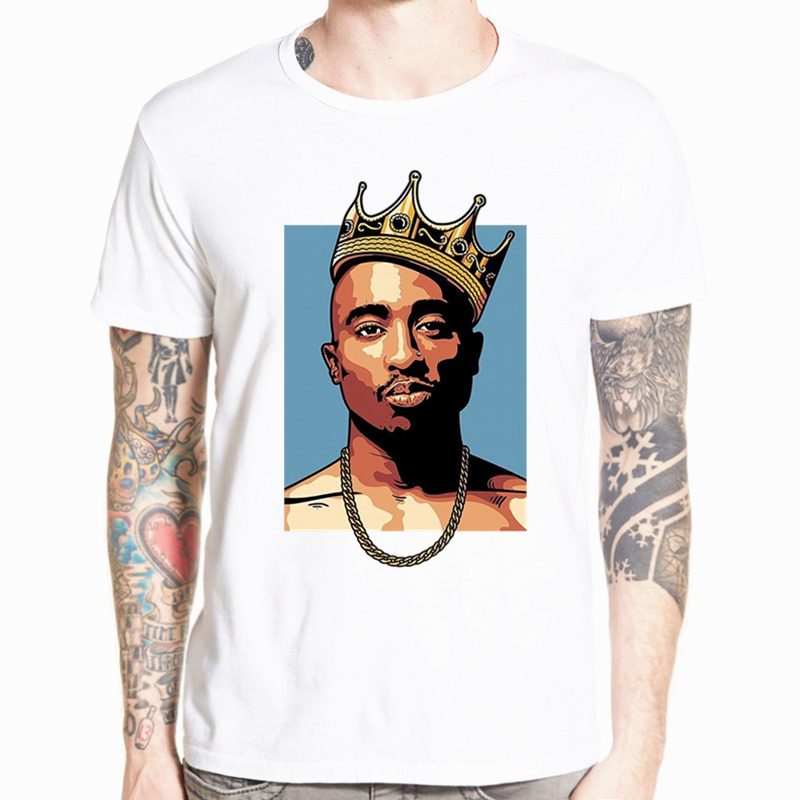 Men And Women print tupac 2pac   T  -  shirt   Short sleeve O-Neck Summer Tshirt Hip Hop Swag Streetwear   T     shirt   HCP4472