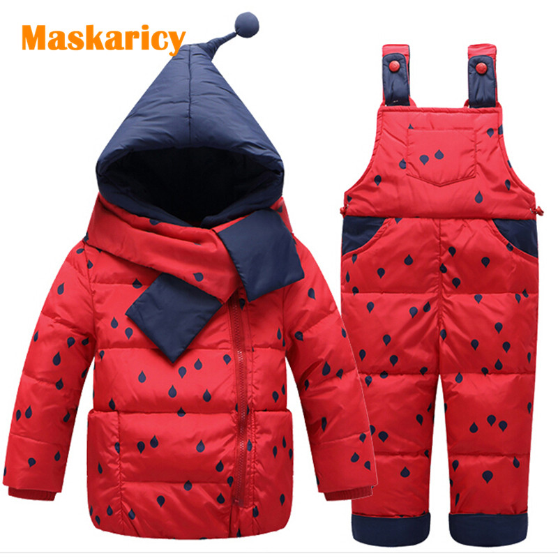 winter baby boy girl clothes white duck down jacket set  coat +pants dot suit infant snow wear kids outerwear children clothing