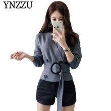 YNZZU 2019 Autumn Winter V-neck solid women sweater Double breasted with belt female knitted jacket Chic elegant outerwear YO844