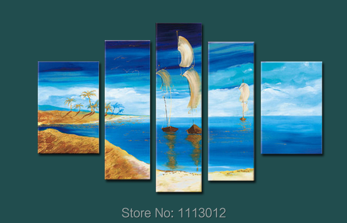 High Quality Sandy Beach Sailboat Oil Painting On Canvas 5 Pcs Sets Wall Art Picture For Living Room Home Decoration Modern Sale