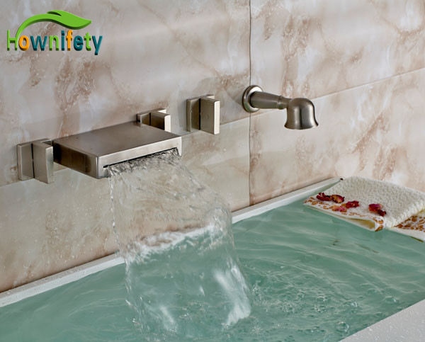 New Brushed Nickel Bathroom Wall Mounted Three Handles Waterfall Tub Faucet With Handshower