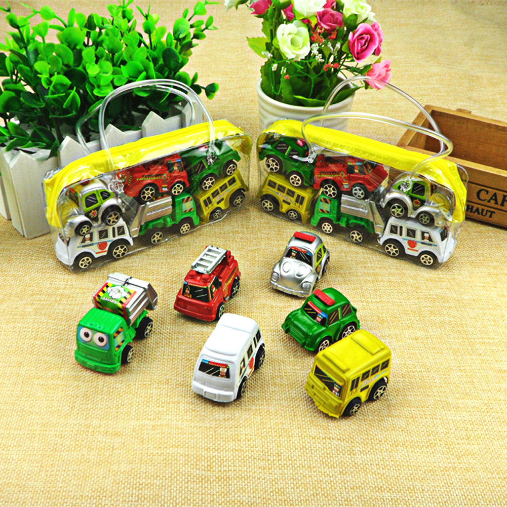 6Pcs/Lot Wheels Car Kids Mini Alloy Collectible Model Car Toys Pull Back Cars Toy For Children Boys Vehicles Diecasts Gift