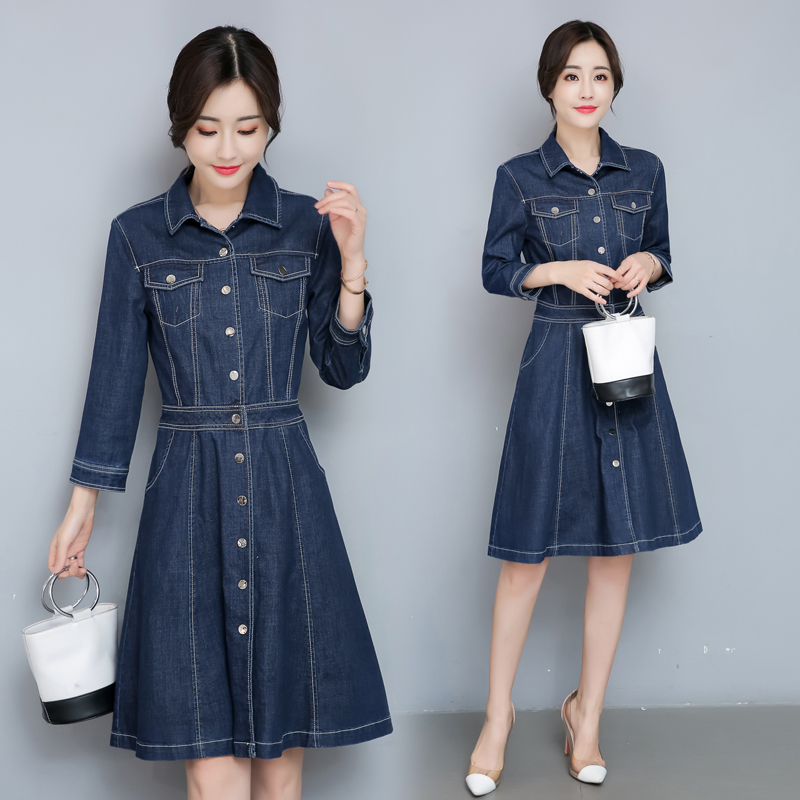 Women Solid color stitching Jeans Dress Summer Sexy Denim Dress Slim Casual Bodycon Tunic Dresses Plus Size Women Clothing