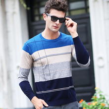 Men Wool cashmere Sweater autumn winter Mens slim fit Clothing new Fashion Plaid Casual Pullover o-neck knitwear