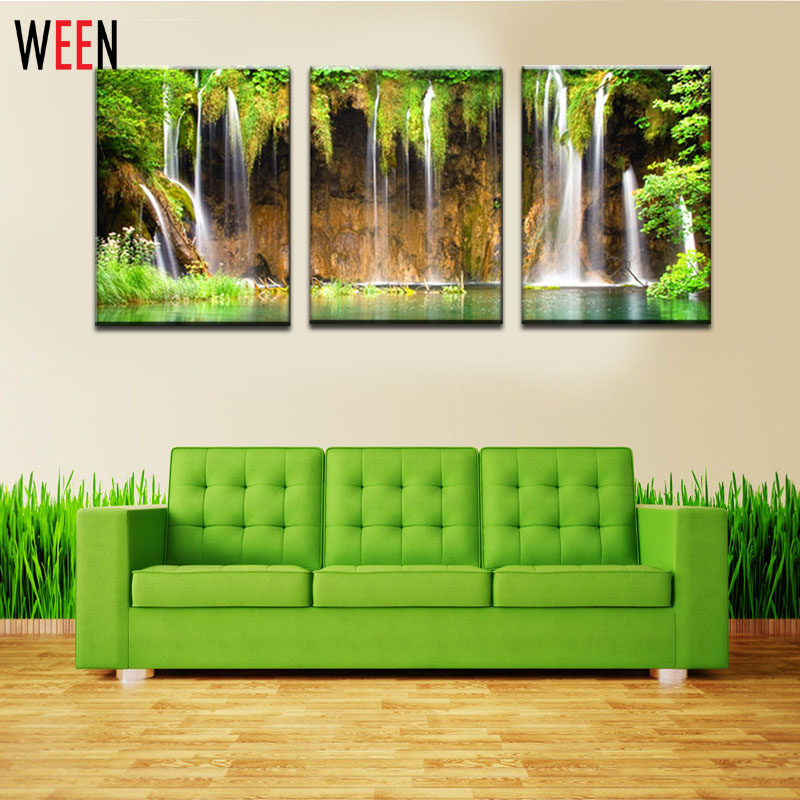 3 Piece Quadri Moderni Canvas Painting Strong Waterfall Natural Painting Modern Picture Home Decor Pinturas Modernas