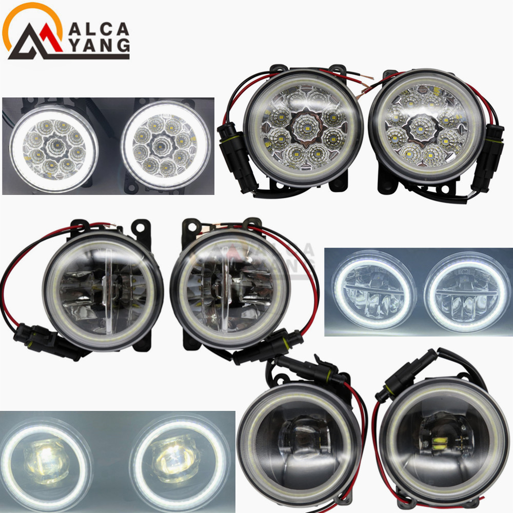 Angel Eye Car Styling 90mm Round LED Fog Lamps DRL For Dacia Logan Duster Sandero 2004 2015 Front Bumper Fog Lights 2Pcs