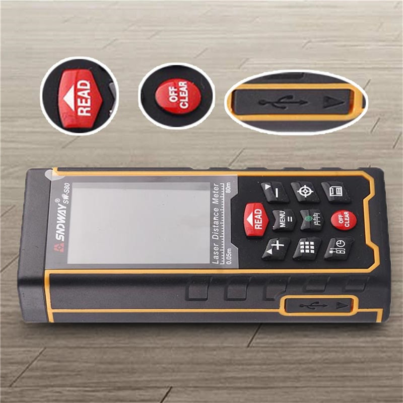 SNDWAY Laser Distance Meter SW-S80 SW-S120 80m 120m laser meter portable rechargeable outdoor laser rangefinder 80m rangerfinde цена
