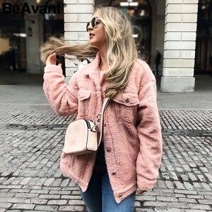 Image 3 - Женская Шуба из овечьей шерсти BeAvant, теплая Модная шуба из искусственного меха розового цвета с карманами, короткая шуба, верхняя одежда, зима 2019