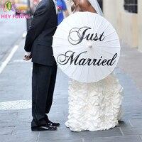 Эй Забавный Новый! Спасибо Just Married Mr & Mrs бумаги Зонт Современная бумажный зонтик для свадьбы вечеринок Свадебные украшения
