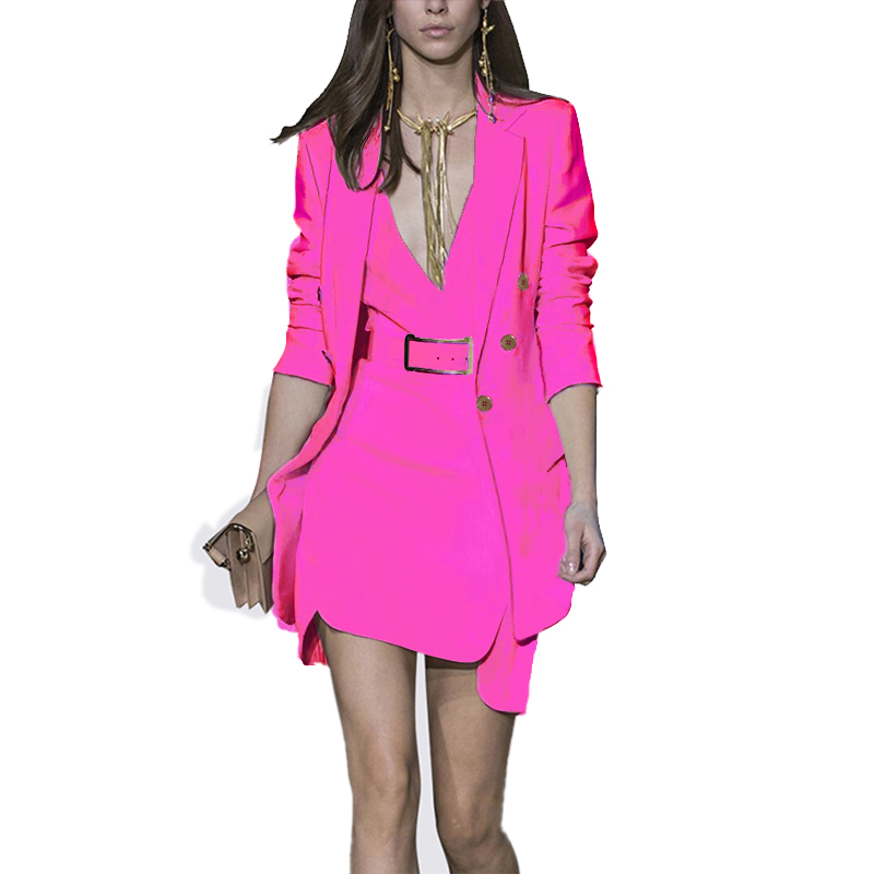 Unique Design Women Elegant Fashion Dress Suits Blazer Jackets Tank Slim Dress 3 Colors Slim OL Formal Twin Sets