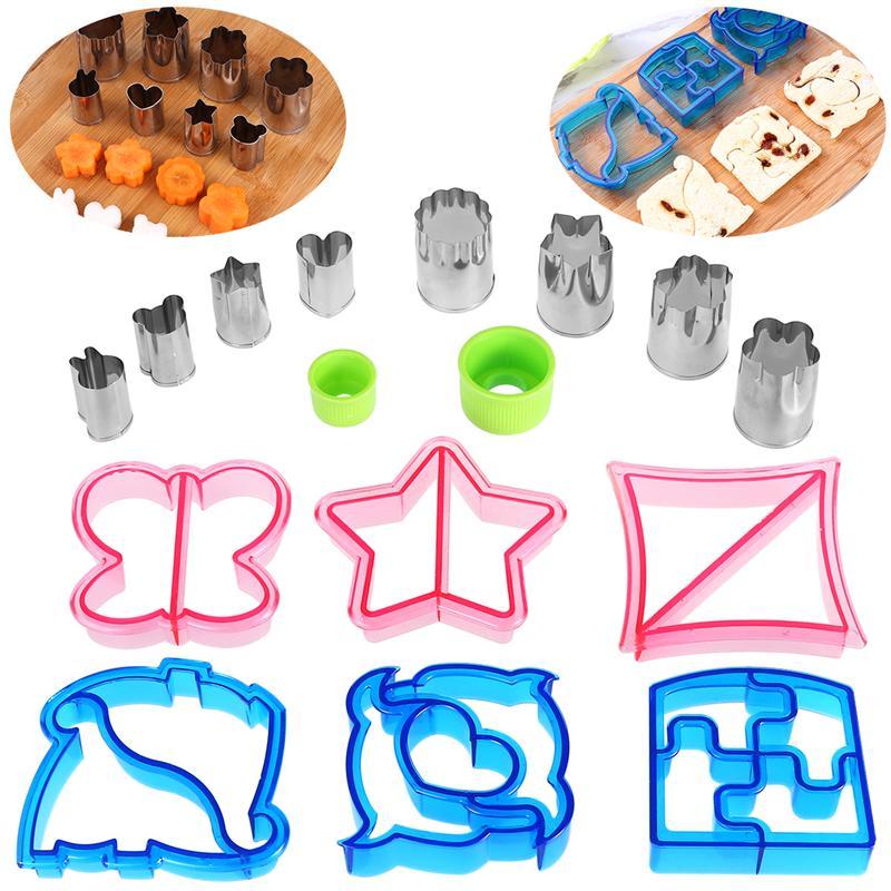 Sandwich-Cutters-Set Vegetable-Molds Stainless-Steel Plastic 2pcs 6pcs 8pcs Handles