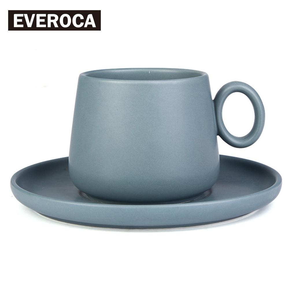 4 Color Available <font><b>Simple</b></font> Matte Set Ceramic Coffee Stoneware Milk <font><b>Cup</b></font> Porcelain Dish