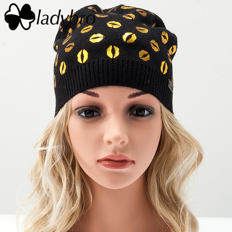Ladybro New Fashion Lip Seal Ptint Hat Cap Wool Beanie Hat For Women Beanies Skullies Bonnet Female Snowboard Cap Autumn Winter wool felt cowboy hat stetson black 50cm
