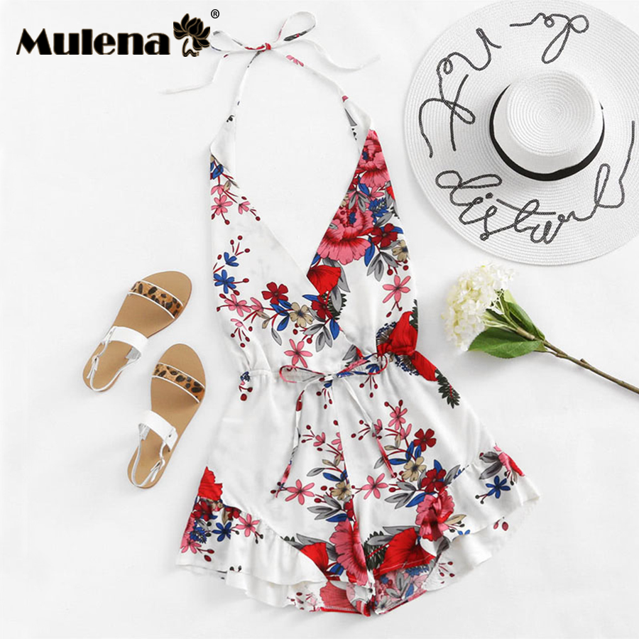 Mulena mini beach bodysuits deep v-neck strapless lace up triangle jumpsuits women club sexy rompers plus size jumpsuits women